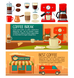set banners for coffee service in shop and cafe vector image vector image