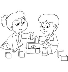 Toddler boy and girl playing vector image vector image