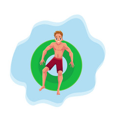 young man on floating inflatable ring resting in vector image