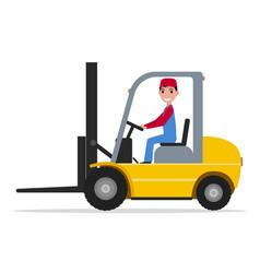 cartoon man driving small yellow autoloader vector image
