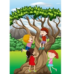 Children climbing tree in the park vector image