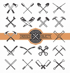 Crossed Retro Objects vector image vector image