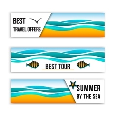 Summer sea banners Collection of summer inspired vector image
