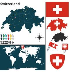 Switzerland map world vector image vector image