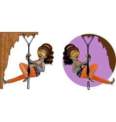 Cute young African American woman mountaineer vector image vector image