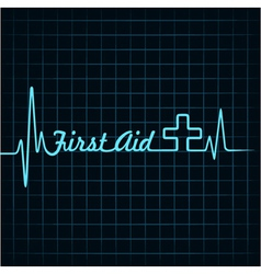 Heartbeat make first aid word and plus symbol vector image