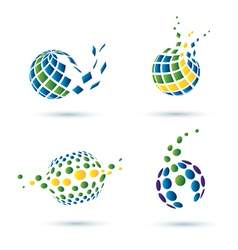 set of abstract globe icons vector image