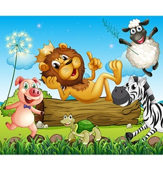 A king lion surrounded with animals vector image