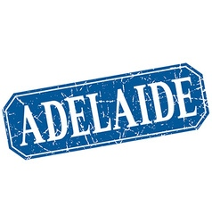 Adelaide blue square grunge retro style sign vector