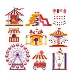 Amusement park flat elements with carousels vector