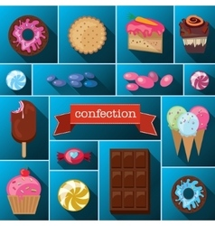 Beautiful images of a variety of sweets vector
