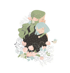 beautiful mother hugging her daughter in flowers vector image
