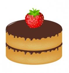birthday cake wit strawberry vector image