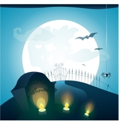 Blue Halloween background with full moon vector image