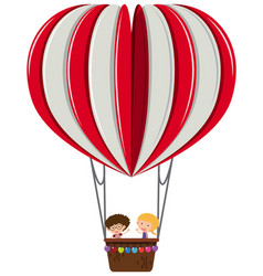 boy and girl on heart balloon vector image