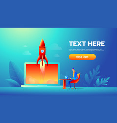 Businessman launches rocket into the sky employee vector