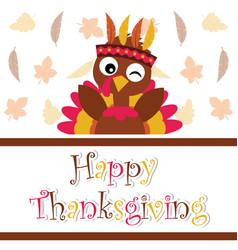 Cartoon with cute turkey is winking on maple vector