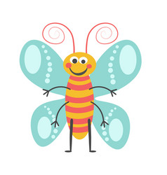 Cheerful butterfly with curled antennae and vector