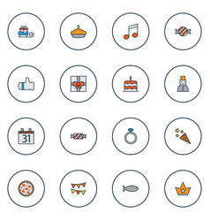 christmas icons colored line set with fish glove vector image
