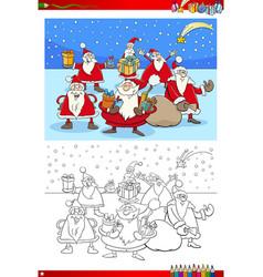 christmas santa group coloring book vector image