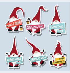 christmas stckers cllection with gnomes vector image