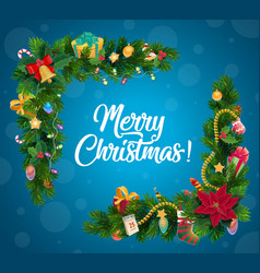 christmas tree and gifts garland corner border vector image