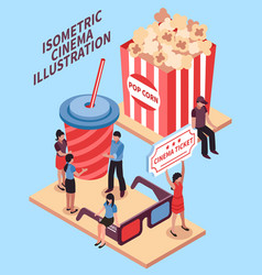 cinema isometric design concept vector image