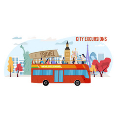 City excursion for tourists flat banner vector