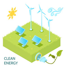 clean energy isometric concept vector image