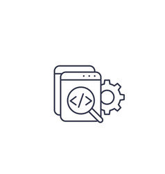 Code review software apps development line icon vector