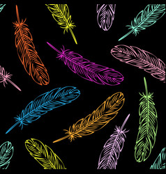 color bird feather seamless pattern vector image