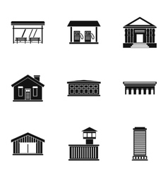 Construction of city icons set simple style vector