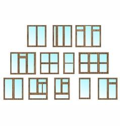cottage window set vector image