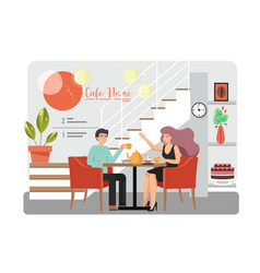 cute couple in cafe flat style design vector image
