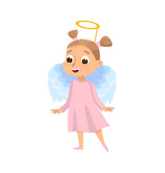 Cute girl dressed in halloween angel costume with vector