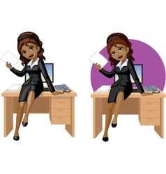 Cute young African American office woman sitting vector image