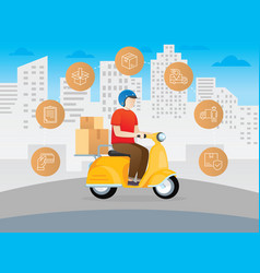 delivery courier scooter vector image