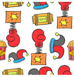 doodle cute circus theme collection vector image