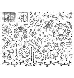 doodles christmas elements monochrome items vector image