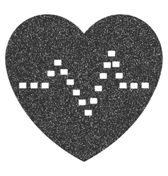 Dotted Heart Pulse Grainy Texture Icon vector