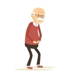 Elderly man sick vector