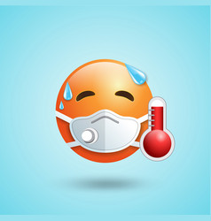Emoji with mouth mask respirator red face with vector