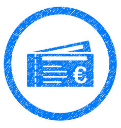 euro tickets rounded icon rubber stamp vector image