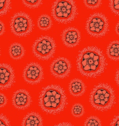 Flowers seamless texture on red background vector