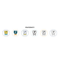 Fraternity icon in filled thin line outline vector