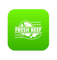 fresh beef icon green vector image