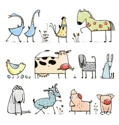 funny cartoon farm domestic animals collection vector image