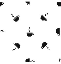 glass cup of tea pattern seamless black vector image