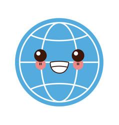 global sphere symbol kawaii cute cartoon vector image