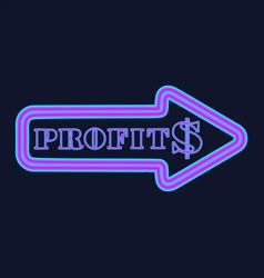 Glowing neon arrow with dollar symbol vector